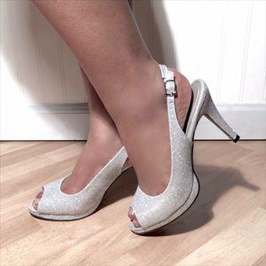 "Pierre Dumas Shoes - Pierre Dumas Silver Slingback Peep Toe 4"" Pumps"