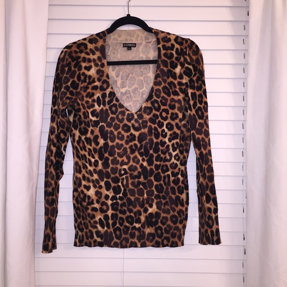 83% off Express Sweaters - Express leopard print v-neck sweater ...