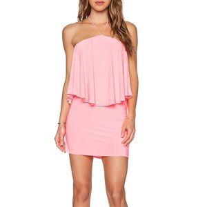 T-BAGS LOSANGELES Halter Mini Dress in Neon Pink