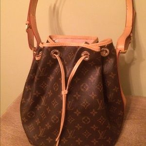 Large brown bucket purse