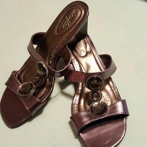 Shoes - Slide on dressy sandal wedges