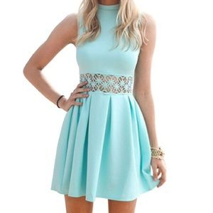 High Neck Lace Waist Skater Dress