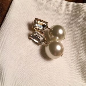 J. Crew faux pearl and crystal drop earrings