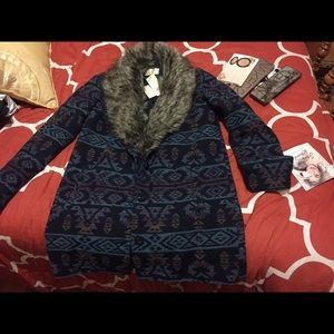 Skies are Blue fur jacket blue Aztec design nwt