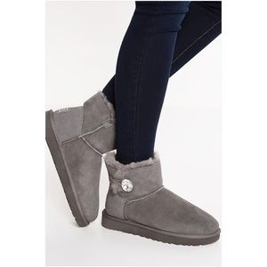 UGG Shoes - UGG Mini Bailey Bling Gray Boots