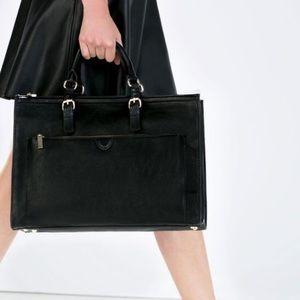 ZARA black city bag tote