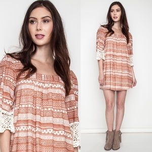 Rust Crochet Trim Dress