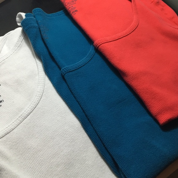 Faded Glory Set Of 3 Tanks White Teal And Red From