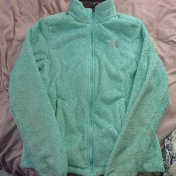 ea8bb3c35 Light turquoise blue fuzzy north face jacket 💙