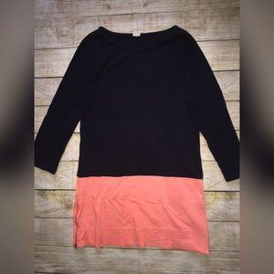 J Crew Cotton Colorblock Dress M Coral Navy