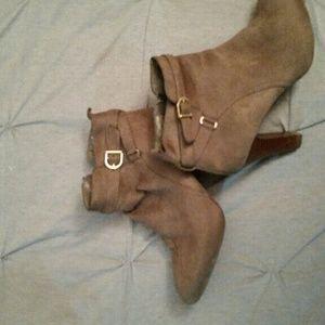 Suede high heel booties