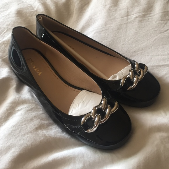 Prada Flats Black Patent Leather with Silver chain dc0b0d36bd18