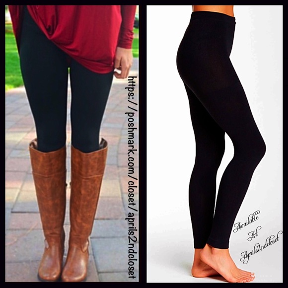 dccce93de38fe Boutique Accessories   Black Fleece Lined Leggings Footless Tights ...