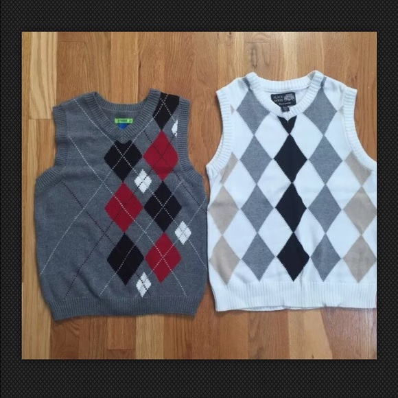 54% off Other - Boys Argyle Sweater Vests Grey Red White Black ...