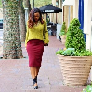 Burgundy Knit Pencil Skirt