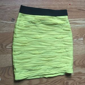 Neon yellow pencil skirt
