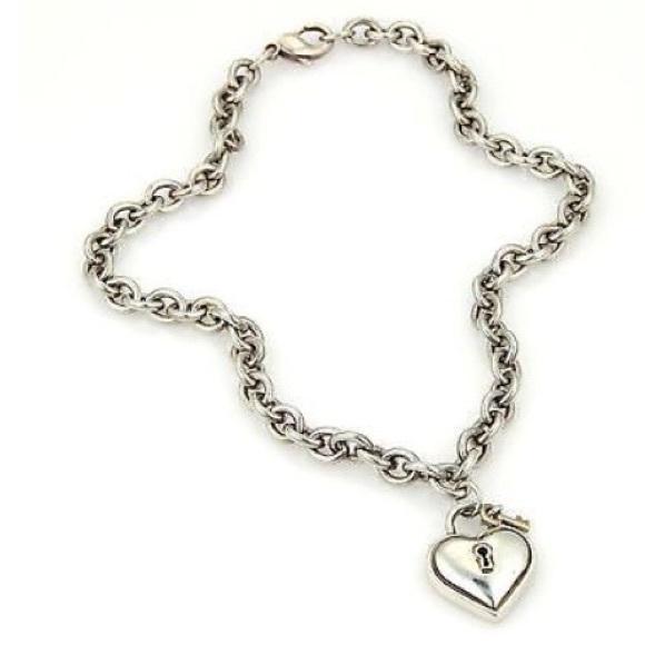 4a581b763af62 Tiffany & Co Silver Puff Heart Lock & Key Necklace