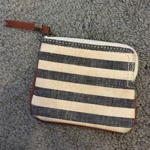 Madewell Handbags - Madewell Grey & Cream Striped Wallet Pouch