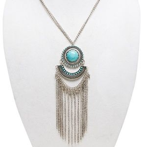 Jewelry - Silver Fringe Turquoise Statement Necklace