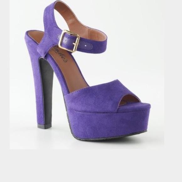 25% off Candies Shoes - Purple suede platform heels from 💕100  ...