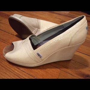 874c695655a TOMS Shoes - Toms ivory glitter women s wedges