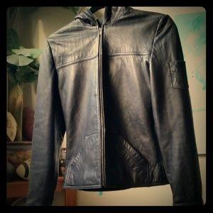 Express Vintage Leather Hooded Jacket EUC