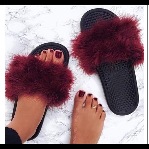 860852442ae2d6 Nike Shoes - Custom made fuzzy slides - size 7 women