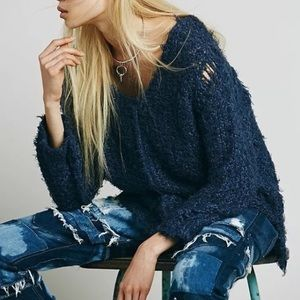 Free people up the ladder sweater(blue color)