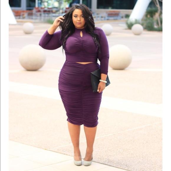 b4426eb70d8 Dresses   Skirts - Plus size Purple top   skirt Set