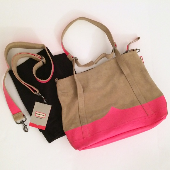 71% off Hunter Handbags - Hunter Suede Leather Neon Pink Handbag ...