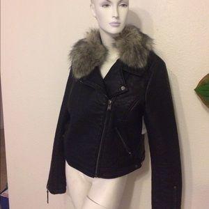 Topshop fake leather motto jacket