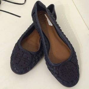 Tory burch braided leather flats