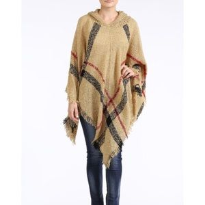 "Bare Anthology Sweaters - ""Romance"" Plaid Hoodie Poncho Sweater"