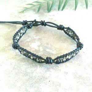 Dalmation Jasper Single wrap Black LeatherBracelet