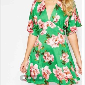 Textured Tea Skater Dress in Green Rose Print