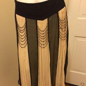 Vintage Inspired cream & black skirt w/beading, 8
