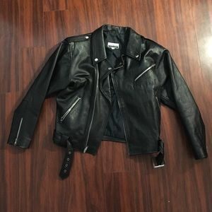 Vintage Contempo black crop leather biker jacket