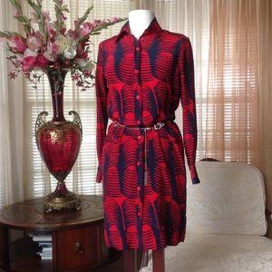 Tucker Dresses & Skirts - Tucker red and blue silk dress