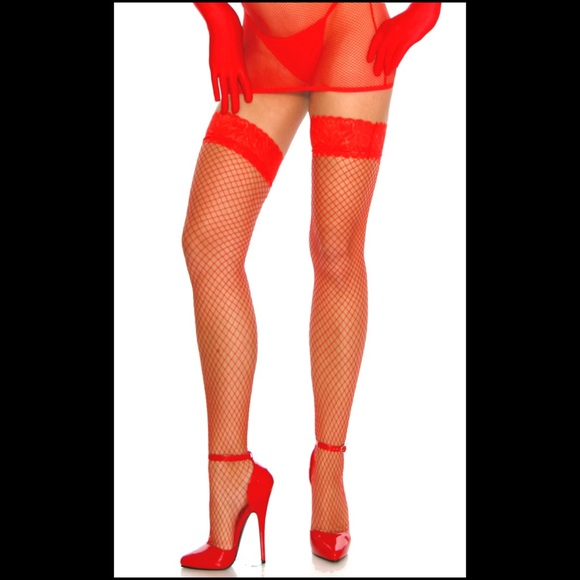 0b8d00bd028d5 Accessories | Sexy Red Thigh High Fishnet Stockings Nwts | Poshmark
