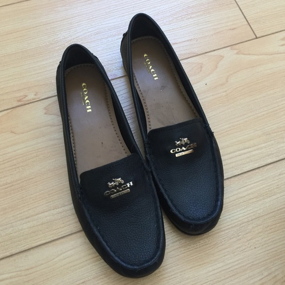 Coach - Coach black pebble grain leather loafer shoes from ...