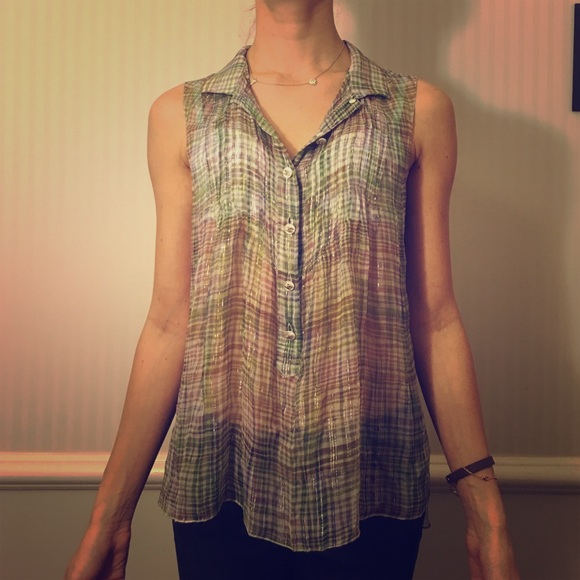 CHANEL Tops - Sheer chanel multicolor button down blouse