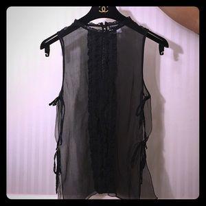 Black see through chanel blouse