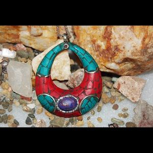 handmade & handcrafted gemstone jewelry Jewelry - Howlite,Turquoise,Copper Purple Turquoise Pendant