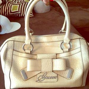 Guess paten leather cream color purse