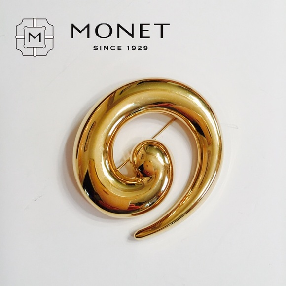 Swirling gold tone Monet bar brooch