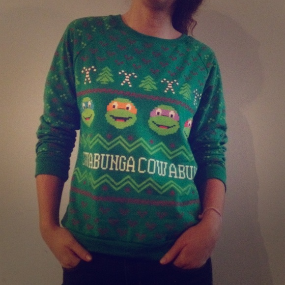 ninja turtles tacky christmas sweater
