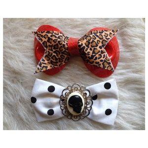 Accessories - Leopard & Skull Hair Bow Bundle