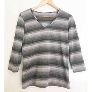 Tops - Clearance‼️ Metallic Striped Shades of Gray Top