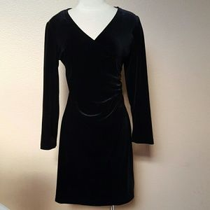 Vintage black crushed velvet faux wrap dress