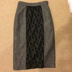 Grey and black lace paneled wool skirt